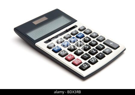 Calculatrice d'isolé sur fond blanc Banque D'Images