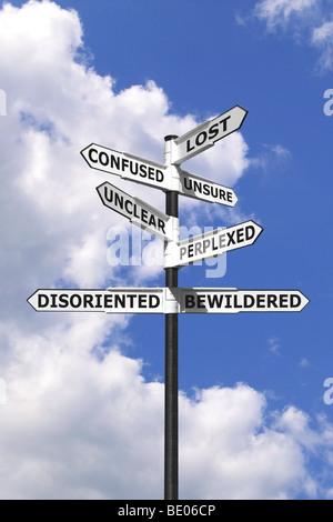 Image Concept de mots associés au fait d'être perdu et confus sur un panneau bleu contre un ciel nuageux. Banque D'Images