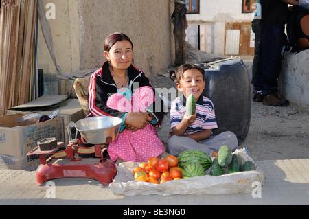 Le Ladakh les vendeurs de rue dans leur petit stand dans les rues de Leh, Ladakh, Inde du Nord, Inde, Himalaya Banque D'Images