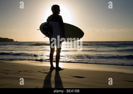 Un surfer carrying surf est découpé par le soleil du matin. La plage de Bondi. Sydney, New South Wales, Australia Banque D'Images