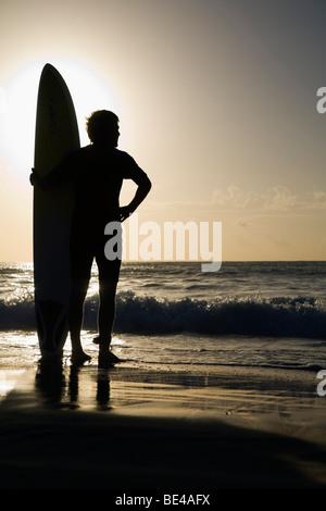 Un internaute donne sur les vagues à la plage de Bondi. Sydney, New South Wales, Australia Banque D'Images