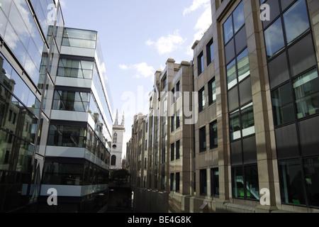 Ville d'architecture de Londres, les bâtiments avec des reflets de soleil de l'été chaud.brique de verre ,galets.old Banque D'Images