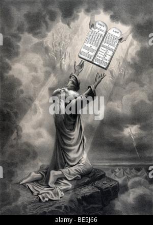 """Impression portrait circa 1877 par F W McCleave & Co intitulé """"Moïse recevant la loi""""."""