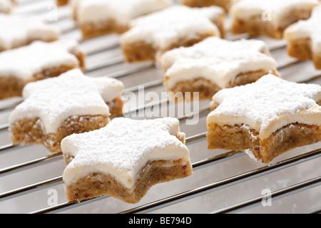 Les cookies à la cannelle sur la grille du four Banque D'Images