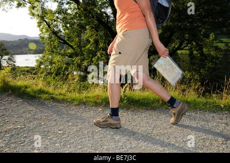 De longueur 3/4 female hiker holding walking pole et carte dans le Lake District, Cumbria. United Kingdom.