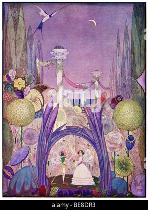 Art Nouveau Harry Clarke Imprimer l'illustration des contes de Hans Andersen premier Coker Co 1919 de THUMBELINA Banque D'Images