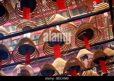 Vue de l'intérieur du Temple Man Mo, Hong Kong, Hong Kong, Chine, Asie Banque D'Images