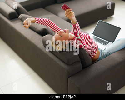 Woman with arms raised. High angle view, Copy space Banque D'Images