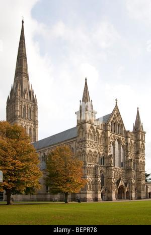 La cathédrale de Salisbury et le fermer à l'automne Banque D'Images