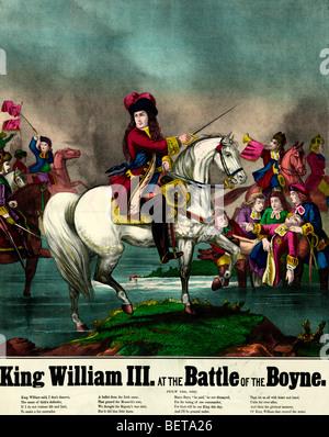 Le roi Guillaume III à la bataille de la Boyne, Juillet 1, 1690 Banque D'Images