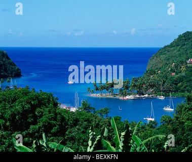 Marigot Bay, Sainte-Lucie, îles du Vent, Caraïbes, Antilles Banque D'Images