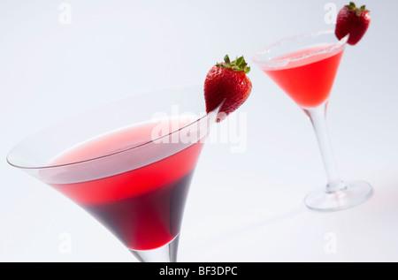 Close-up de deux cocktails de fraises Banque D'Images