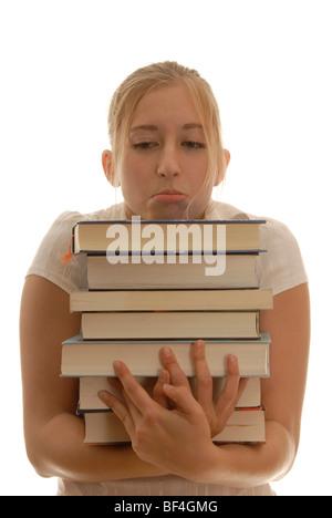Dix-huit ans, avec des livres, à la recherche désespérée, le stress d'apprentissage Banque D'Images