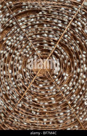 Les cocons de vers à soie dans un cadre en bambou circulaires traditionnels dans la production de la soie dans une Banque D'Images