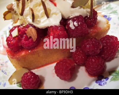 Framboises fraîches sur angel food cake avec de la crème fouettée et les amandes effilées Banque D'Images