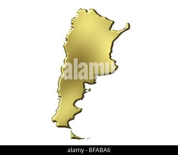 3d carte d'or de l'Argentine Banque D'Images