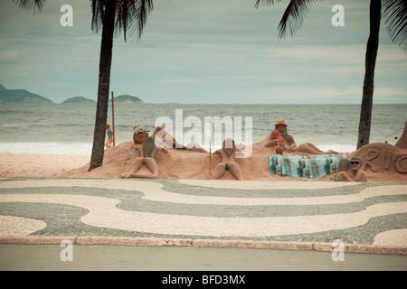 Sculptures de plage Copacabana Rio de Janeiro Brésil Banque D'Images