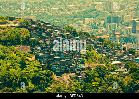 Favela de taudis ou vu de Corcovado Banque D'Images