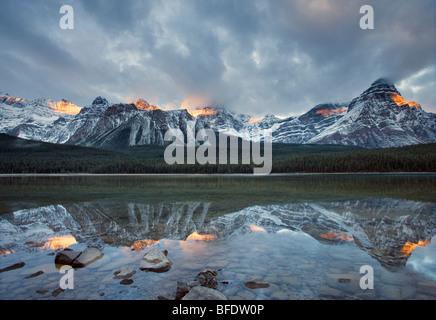 Mont Chephren reflétée dans la Waterfowl Lake, Banff National Park, Alberta, Canada Banque D'Images