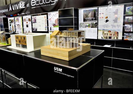 Paris, France, salon de l'équipement de construction, « Salon Batimat », projets de modèle architectural Eco-House Banque D'Images