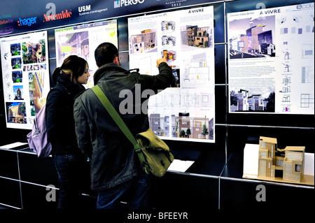 Paris, France, salon de l'équipement de construction, recherche de personnes, projets éco-House « modèle architectural Banque D'Images