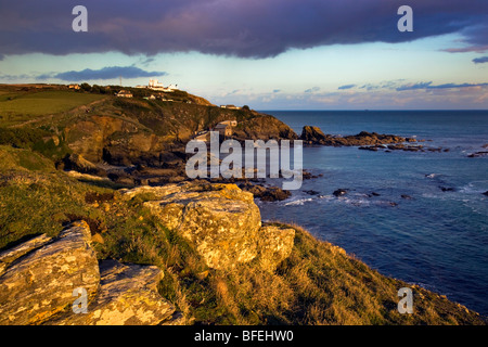 Lizard Point, point le plus au sud en UK ; Cornwall ; coucher du soleil Banque D'Images