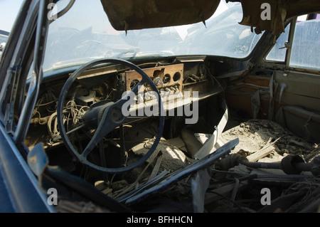 Vieux intérieur voiture Banque D'Images