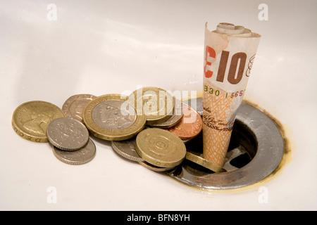 L'anglais de l'argent par les fenêtres Banque D'Images