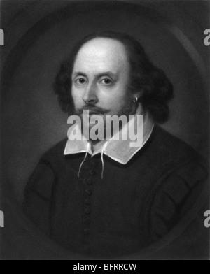 Gravure Portrait c1849 du légendaire poète et dramaturge anglais William Shakespeare (1564 - 1616). Banque D'Images