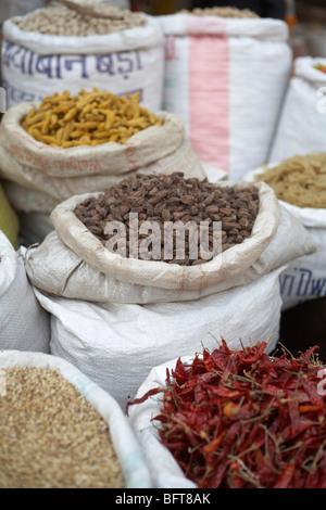 Les épices au marché, Varanasi, Uttar Pradesh, Inde Banque D'Images
