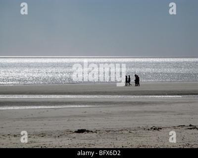 Sur la plage de Puerto Madryn, marée basse, par jour Banque D'Images