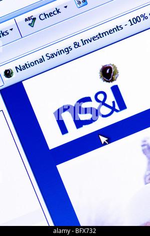Capture d'écran de la macro de l'épargne nationale et les investissements (NS&I) site web. Usage éditorial uniquement. Banque D'Images