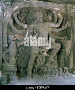 Shiva au Temple Kailasanatha, datant du 8e siècle AD, Ellora, UNESCO World Heritage Site, Maharashtra, Inde, Asie