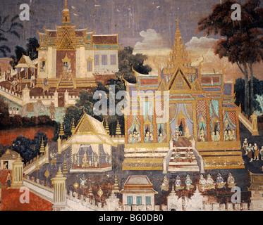 Fresque de Palais Royal, la Pagode d'argent à l'intérieur du temple, Phnom Penh, Cambodge, Indochine, Asie du Sud Banque D'Images