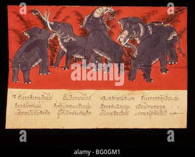 Manuscrit Thaï sur les éléphants, Thaïlande, Asie du Sud, Asie