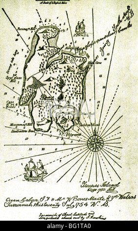 Carte de l'île au trésor à partir de la première édition 1883 du roman d'aventure historique par Robert Louis Stevenson