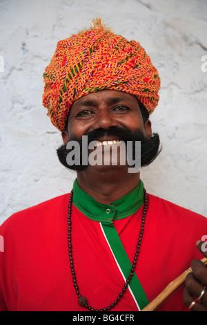 Musicien du Rajasthan, Jaipur, Rajasthan, Inde, Asie Banque D'Images