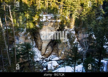 Roche de l'éléphant dans la rivière Ausable Chasm, Adirondacks de l'État de New York Banque D'Images