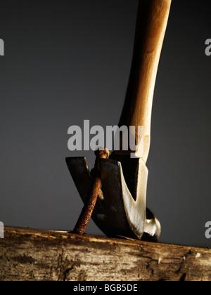 Retrait d'un marteau un clou d'une vieille Surface en bois Banque D'Images