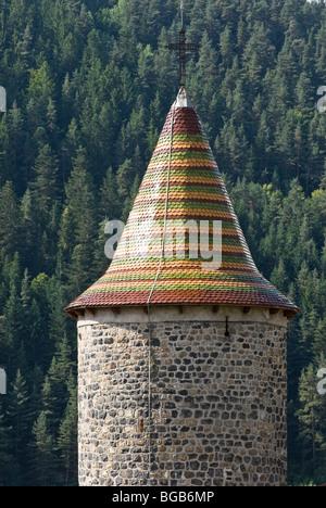 Clocher de l'église avec des toits de tuiles vernissées, Auvergne, France