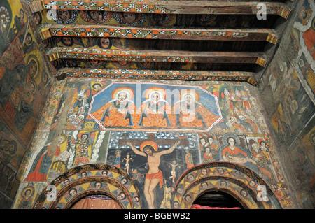 Les peintures murales, peintures murales, célèbre dans l'Église Debre Berhan Salassie, UNESCO World Heritage Site, Banque D'Images