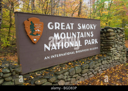 Great Smoky Mountains National Park Entrance sign TN USA Banque D'Images