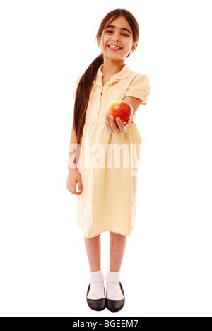 Jeune fille de l'école avec un Apple Banque D'Images