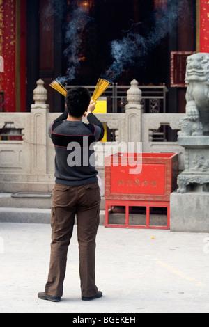 Le Temple de Wong Tai Sin à Kowloon, Hong Kong. Banque D'Images