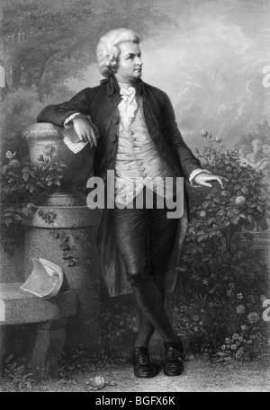 19ème siècle gravure portrait non daté et un du compositeur autrichien Wolfgang Amadeus Mozart (1756 - 1791). Banque D'Images