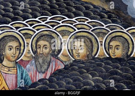 Monastère de Rila fresco avec détail des saints Banque D'Images