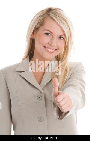 Attractive blonde businesswoman giving Thumbs up isolé sur fond blanc Banque D'Images