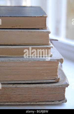 Un tas de couleurs naturelles, vintage books tourné en plein jour Banque D'Images