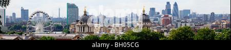 Vue panoramique sur les toits de Londres Greenwich Banque D'Images