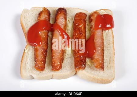Sandwich saucisse avec ketchup
